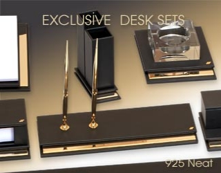 Exceptional gold plated exclusive desksets.